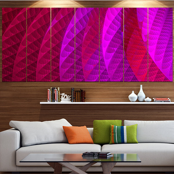 Design Art Layered Pink Psychedelic Design Abstract Canvas Art Print - 7 Panels