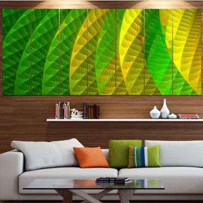 Designart Layered Green Psychedelic Design Abstract Canvas Art Print - 5 Panels