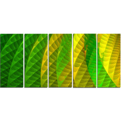 Layered Green Psychedelic Design Abstract Canvas Art Print - 5 Panels