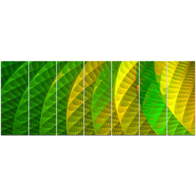 Designart Layered Green Psychedelic Design Abstract Canvas Art Print - 7 Panels