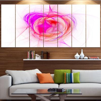 Pink Fractal Explosion Supernova Abstract Canvas Art Print - 4 Panels