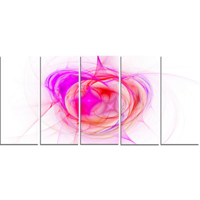 Designart Pink Fractal Explosion Supernova Abstract Canvas Art Print - 5 Panels