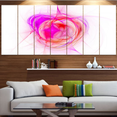 Designart Pink Fractal Explosion Supernova Abstract Canvas Art Print - 7 Panels