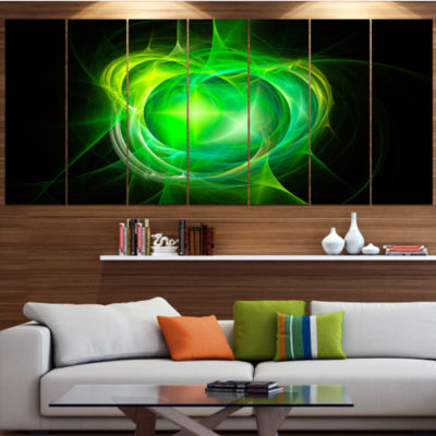 Designart Green Fractal Explosion Supernova Abstract Canvas Art Print - 6 Panels