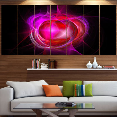 Red Fractal Explosion Supernova Abstract Canvas Art Print - 4 Panels