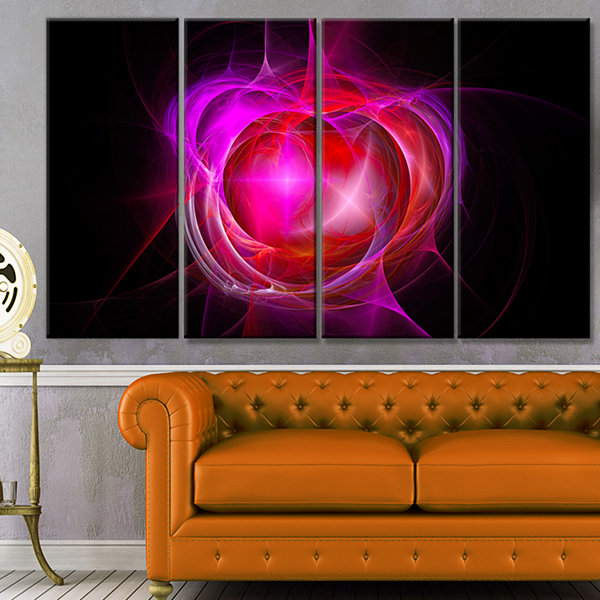 Design Art Red Fractal Explosion Supernova Abstract Canvas Art Print - 4 Panels