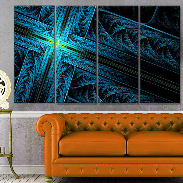 Designart Turquoise Fractal Cross Design AbstractCanvas Art Print - 4 Panels