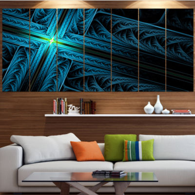 Designart Turquoise Fractal Cross Design AbstractCanvas Art Print - 6 Panels