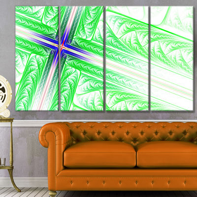 Designart Bright Green Fractal Cross Design Abstract Canvas Art Print - 4 Panels
