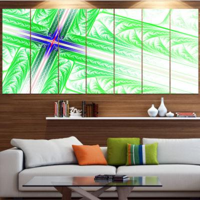 Design Art Bright Green Fractal Cross Design Contemporary Canvas Art Print - 5 Panels