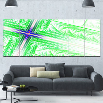Designart Bright Green Fractal Cross Design Abstract Canvas Art Print - 6 Panels