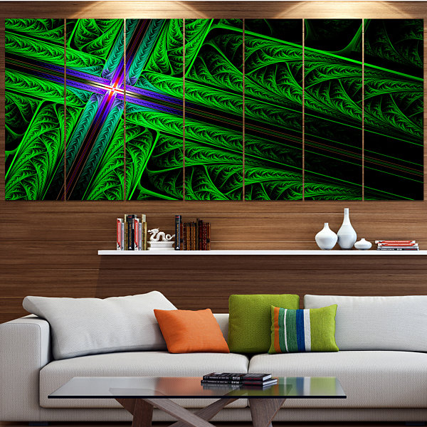 Designart Green Fractal Cross Design ContemporaryCanvas Art Print - 5 Panels