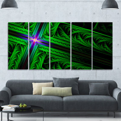 Designart Green Fractal Cross Design Abstract Canvas Art Print - 5 Panels