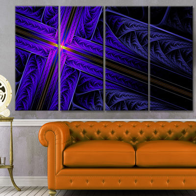 Bright Blue Fractal Cross Design Abstract Canvas Art Print - 4 Panels
