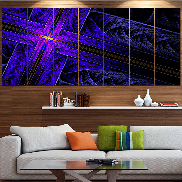 Designart Bright Blue Fractal Cross Design Contemporary Canvas Art Print - 5 Panels