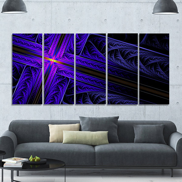 Design Art Bright Blue Fractal Cross Design Abstract Canvas Art Print - 5 Panels