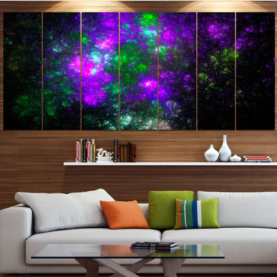 Designart Explosion Supernova Fractal Art Contemporary Canvas Art Print - 5 Panels