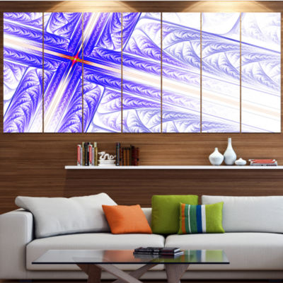 Blue Fractal Cross Design Abstract Canvas Art Print - 4 Panels