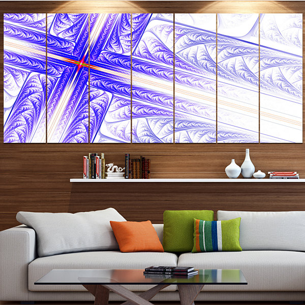 Designart Blue Fractal Cross Design Abstract Canvas Art Print - 6 Panels
