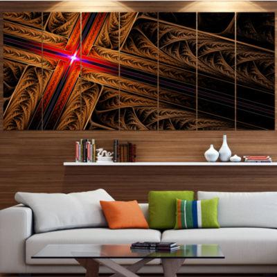 Golden Fractal Cross Design Abstract Canvas Art Print - 5 Panels
