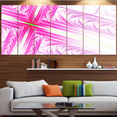 Designart Pink Fractal Cross Design ContemporaryCanvas Art Print - 5 Panels