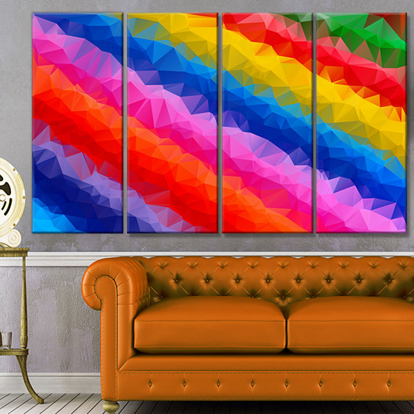 Design Art Multi Color Polygonal Pencils AbstractCanvas Art Print - 4 Panels