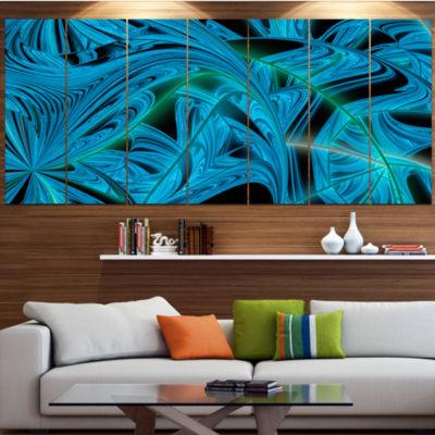 Designart Blue Winter Fractal Pattern Abstract ArtOn Canvas- 5 Panels