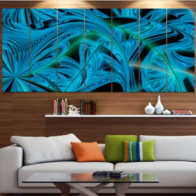Blue Winter Fractal Pattern Abstract Art On Canvas- 6 Panels