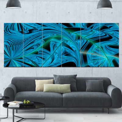 Designart Blue Winter Fractal Pattern Abstract ArtOn Canvas- 6 Panels