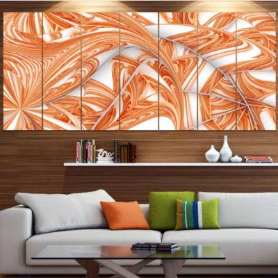 Designart Brown Winter Fractal Pattern Abstract Art On Canvas - 7 Panels