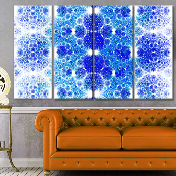 Design Art Exotic Blue Fractal Crescent Pattern Abstract Art On Canvas - 4 Panels
