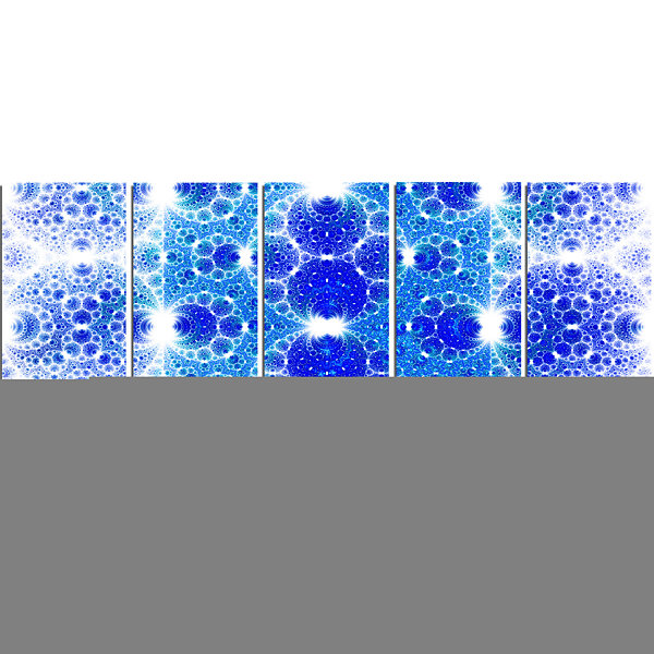 Designart Exotic Blue Fractal Crescent Pattern Abstract Art On Canvas - 5 Panels
