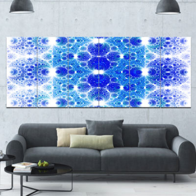 Exotic Blue Fractal Crescent Pattern Abstract ArtOn Canvas - 6 Panels
