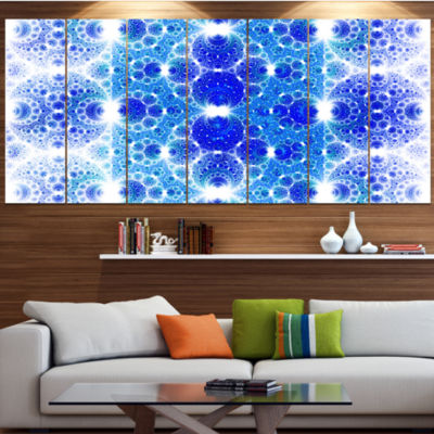 Design Art Exotic Blue Fractal Crescent Pattern Abstract Art On Canvas - 7 Panels