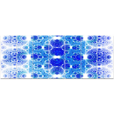 Designart Exotic Blue Fractal Crescent Pattern Abstract Art On Canvas - 7 Panels