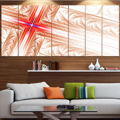 Designart Red Fractal Cross Design Abstract Art OnCanvas -7 Panels