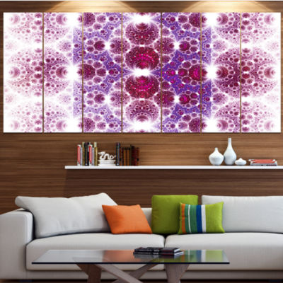 Design Art Exotic Pink Fractal Crescent Pattern Abstract Art On Canvas - 6 Panels