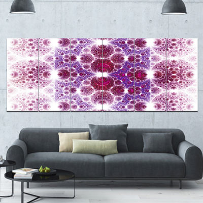 Designart Exotic Pink Fractal Crescent Pattern Abstract Art On Canvas - 6 Panels