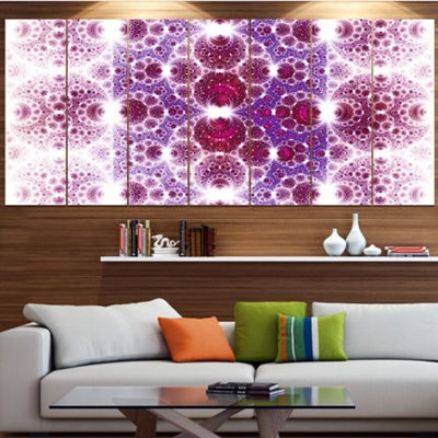 Designart Exotic Pink Fractal Crescent Pattern Abstract Art On Canvas - 7 Panels