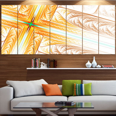 Designart Brown Fractal Cross Design Abstract ArtOn Canvas- 4 Panels