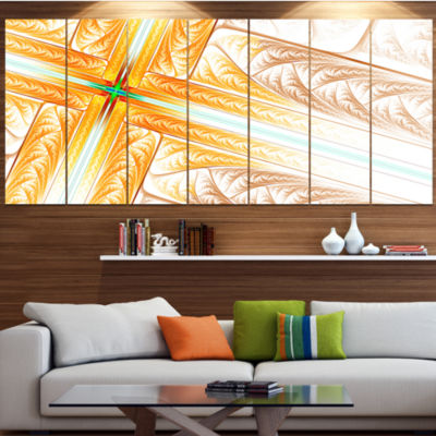 Brown Fractal Cross Design Abstract Art On Canvas- 7 Panels