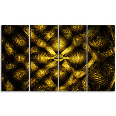 Designart Golden Fractal Watercolor Pattern Abstract Art OnCanvas - 4 Panels