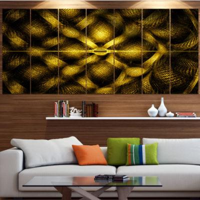 Designart Golden Fractal Watercolor Pattern Abstract Art OnCanvas - 6 Panels