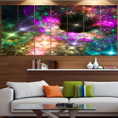 Designart Pink Cosmic Black Hole Contemporary ArtOn Canvas- 5 Panels