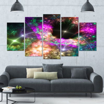 Pink Cosmic Black Hole Contemporary Art On Canvas- 5 Panels