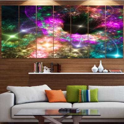 Design Art Pink Cosmic Black Hole Abstract Art OnCanvas - 6Panels