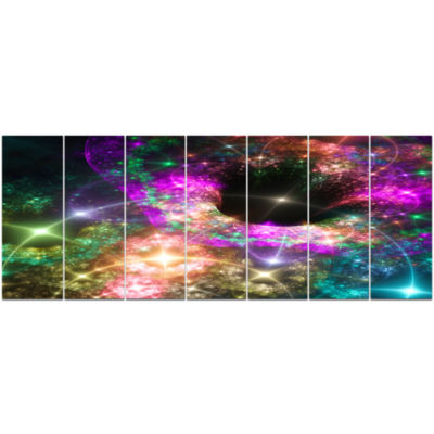 Pink Cosmic Black Hole Abstract Art On Canvas - 7Panels