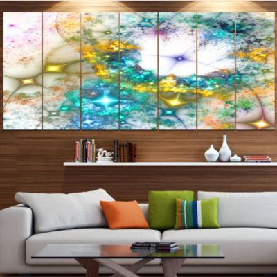 Designart Blue Cosmic Black Hole. Abstract Art OnCanvas - 7 Panels