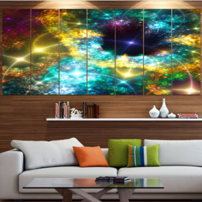 Golden Cosmic Black Hole Abstract Art On Canvas -7 Panels