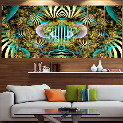 Designart Magical Fairy Pattern Brown Abstract ArtOn Canvas- 5 Panels